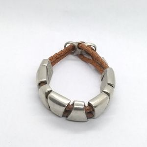 Other - Double Braided Leather & Geometric Slides Bracelet